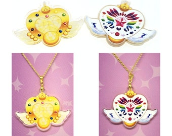 SALE Eternal Sailor Moon Stars Brooch Necklace Crystal Double-Sided
