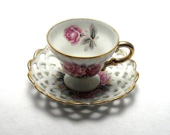 Vintage Ucagco Rose Teacup & Saucer from Japan
