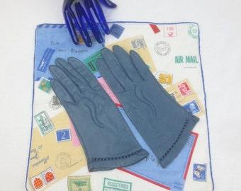 Vintage 1950's Teal Blue Kidd Skin Leather Gloves CARESSKIN by SUPERB -  Washable -  Size 6