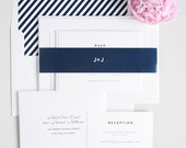 Navy Blue Wedding Invitation, Simple, Clean, Plain, Traditional, Upscale, Diagonal Stripes - Classic Urban Wedding Invitations - Deposit