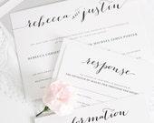 Romantic, Chic Wedding Invitation - Black, White, Silver - Flowing Script Wedding Invitation - Calligraphy Wedding Invite