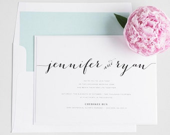Mint Wedding Invitations - Unique Calligraphy Font - Romantic Wedding Invite - Flowing Script Wedding Invitation