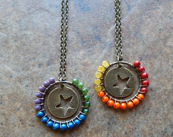 Rainbow necklace, Wire wrapped rainbow pendant, star necklace, colorful, celestial theme jewelry, hippie necklace, multicolored necklace