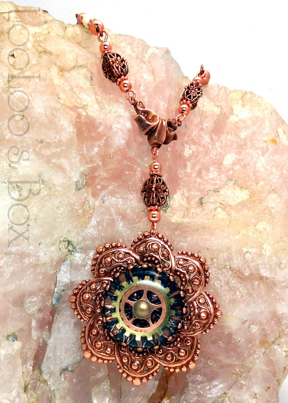 Rose Gold Copper Filigree Necklace Ice Resin Gear Cabochon Tiger Skin Jasper Bone Plated Brass N0258 by Robin Taylor Delargy RTD