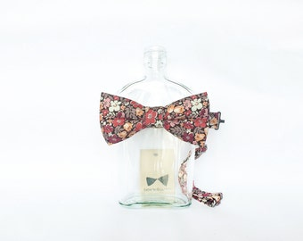 Janis - Peach/Orange Floral Men's Pre-Tied Bow Tie or Self-Tied Bow Tie