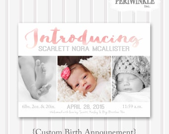 Girl Birth Announcement-Custom Printable-Watercolor Brush Words-5x7-Baby Girl
