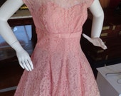 Vintage 1950s Sweetheart Coral Colored A-line Ombre Lace Dress