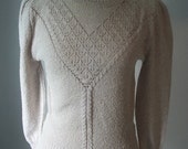 80s 90s Puff Sleeve Crochet Detail Sweater - Size M/L