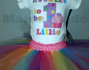 Personalized It's Sweet To be.. Bright Cupcake Tutu Outfit with name and birthday number with BODYSUIT size 6 mo 9 mo 12 mo 18 mo 24 mo