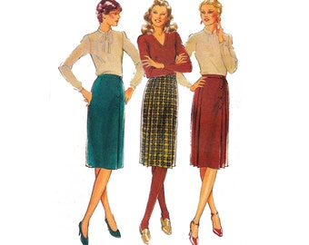 80s Wrap Skirt Pattern Style 3094 Pleated Button Front Straight Skirt Vintage Sewing Pattern Size 12 Waist 26 1/2 inches UNCUT Factory Folds