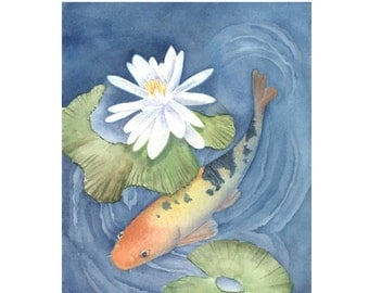 """Tutorial Painting of """"Koi in Lily Pond"""" How to Paint Watercolor, Instant Download"""