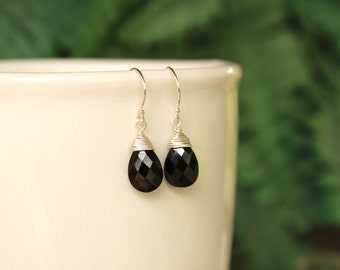 Black Onyx Earrings, Wire Wrapped, Black Gemstone, Simple Earrings, Dangle Earrings, Drop, Onyx Simple Earrings, Minimalist, Dainty