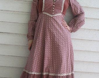 Gunne Sax Maxi Dress Velvet Long Sleeve Vintage 70s 7 XS Floral Prairie Pink Mauve