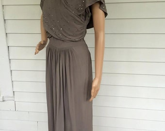 Vintage 40s Draped Dress Sequins Gray Strong Shoulder 1940s S TLC AS Is