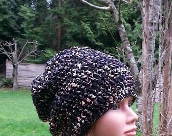 womens hat, womens crochet hat, girls crochet beanie, your color choice, wool blend, slouchie beanie, toque, blue hat, black hat