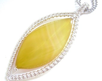 Yellow Agate Pendant, Wire Wrapped, Silver, Marquise, Banded Agate, Beaded, Daffodil, Summer, Lemon, Sunshine, 935