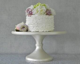 "16"" Wedding Cake Stand Cupcake Pedestal Ivory Pearl Ivory Cake Stand Rustic Wedding E. Isabella Designs Featured In Martha Stewart Weddings"