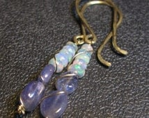Welo Ethiopian Fire Opal and Tanzanite - Gold Filled Elegant Hooks