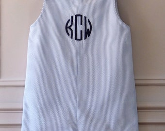 Baby Boy Traditional Romper  Light Blue Striped Seersucker with Embroidered Monogram 3 months - 4T