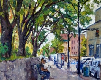 On Broadway, Inwood NYC. Original Realist Oil Painting on Panel, 12x9 Impressionist Plein Air Fine Art, Signed Original Fine Art