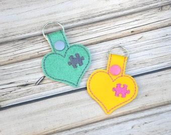 Puzzle Heart Bag Tag Keychain, Autism Awareness, Personalized, Vinyl, Custom Made