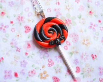 Halloween Lollipop Necklace, Goth Necklace, Lollipop Necklace, Gothic, Lolita, Swirl Lollipop, Halloween Necklace, Bat Necklace, Goth