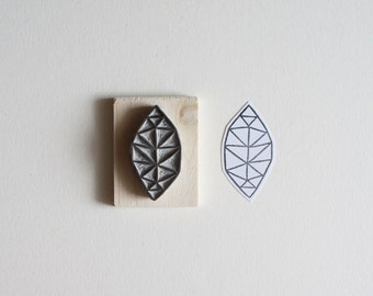 Geometric Leaf Hand Carved Stamp