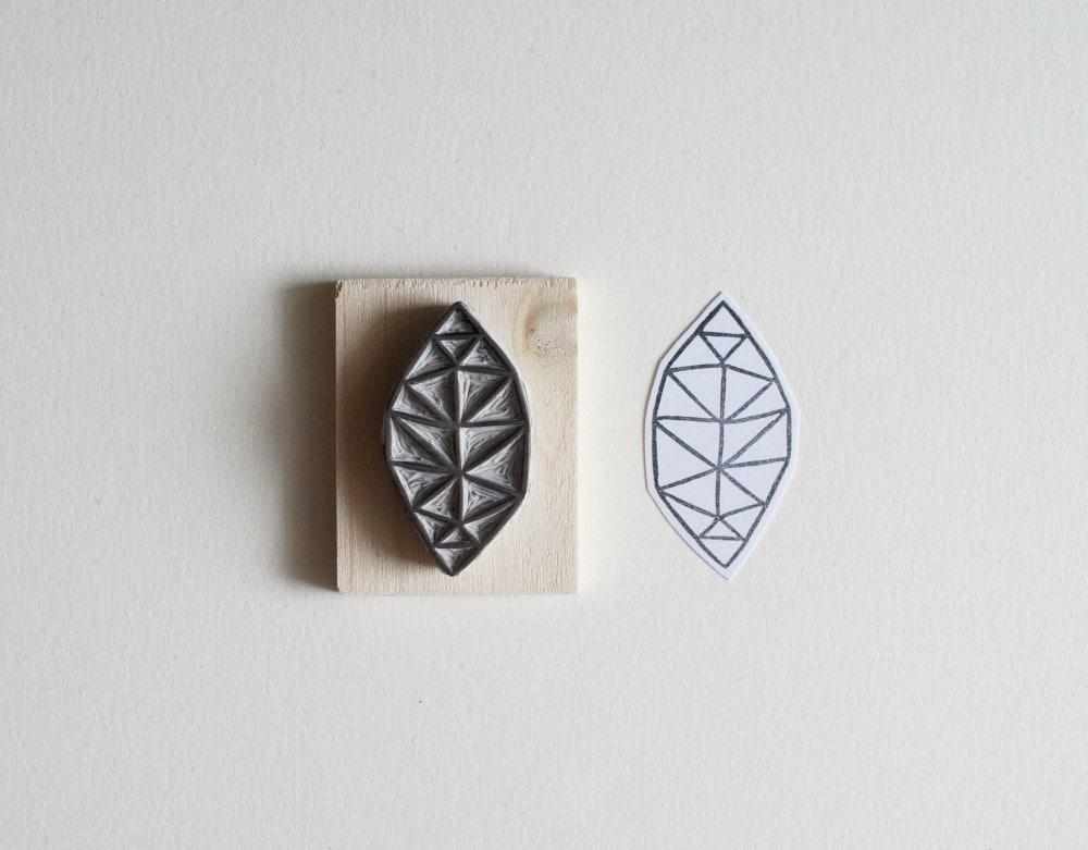 Geometric leaf hand carved stamp