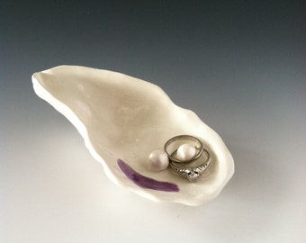Oyster Shell Ring Bearer Dish Handmade Ceramic Sculpture