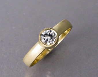 Moissanite Engagement Ring - 5mm Diamond Alternative on 3mm Wide 14k Yellow, Rose or White Gold Band