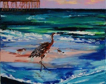 Great Blue Heron on Gulf of Mexico - Fine Art Original Impasto Impressionism Oil Painting on Canvas - Michelle Cain
