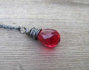 Red Quartz Necklace, Tear Drop Briolette,  Wire Wrapped,  Sterling Silver, Winter Berry