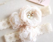 Swarovski Bridal Garter Set-  Crystal Bridal Garter- Floral Wedding Garter