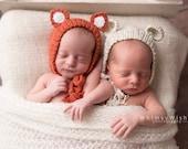 Newborn photo prop, newborn hat, newborn boy, newborn girl, newborn props,  Newborn fox bonnet. Newborn photography prop.
