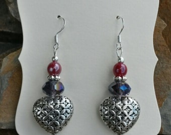 Purple and Red Heart Sterling Silver Earrings, Sterling Heart Earrings, Purple Heart Earrings, Heart Sterling SIlver Earrings
