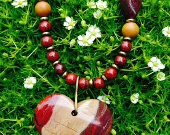 Wood Jasper Stone Pendant Necklace