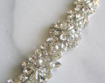 """Crystal Rhinestone Trim, Beaded Rhinestone Bridal Applique for Wedding Gown or Sash, 24"""""""