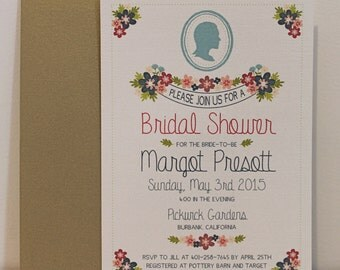 Floral Silhouette/Cameo Bridal Shower Invitation