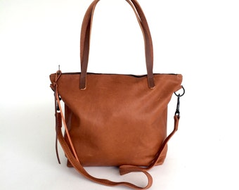 Brown Leather tote large brown leather bag tan tote bag
