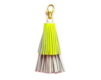 Women Leather Key Chain, Tassel Key Chain, Neon Yellow Key Chain, Leather Key Holder, Custom Key Chain, Tassel Purse Charm, Leather Key Fob