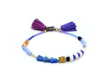 Brass Geometric Bracelet, Beaded Friendship Bracelet, Leather Tassel Bracelet, Lapis Lazuli Minimal Bracelet, Blue, Purple and Gold Bracelet