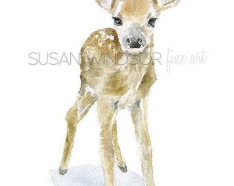 Deer Fawn Watercolor Painting Giclee Reproduction 11x14 - Nursery Art Woodland Animal - Baby Animal