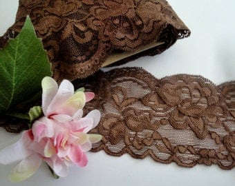 "3"" wide hand dyed mocha brown lace double side scalloped stretch lace for lingerie headbands ST"