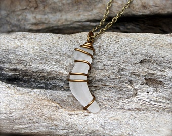 Sea Glass Jewelry from Hawaii - Gypsy Jewelry - Bohemian Necklace - Hawaiian Jewelry - Boho Necklace made in Hawaii - Seaglass Wire Wrap