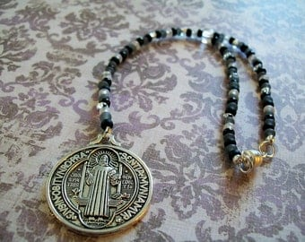Saint St Benedict Medal. Beaded Rear View Mirror Charm Protection, Auto Car Vehicle, Easy Magnetic Clasp, black white grey crystal silver