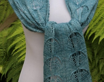 Well Water Blue Twin Candelabras Pure Merino Wool Lace and Cables Hand Knitted Scarf or Wrap