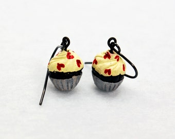 Cupcake Earrings with Red Heart Sprinkles in Gunmetal - Food Earrings, Dessert Earrings, Birthday Gift, Valentine's Day, Girlfriend Gift