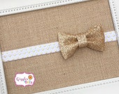 Gold and Ivory Baby Headband,  Newborn Headband, Ivory and Gold Baby Bow Headband, Glitter Headbands, Sparkly Baby Headbands, Baby Girl Bows