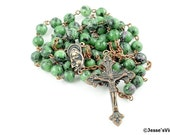 Traditional Rosary Ruby in Zoisite Antique Copper Catholic Rustic