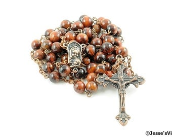 Catholic Rosary Beads Rustic Red Tiger Eye Copper Natural Stone Traditional Five Decade